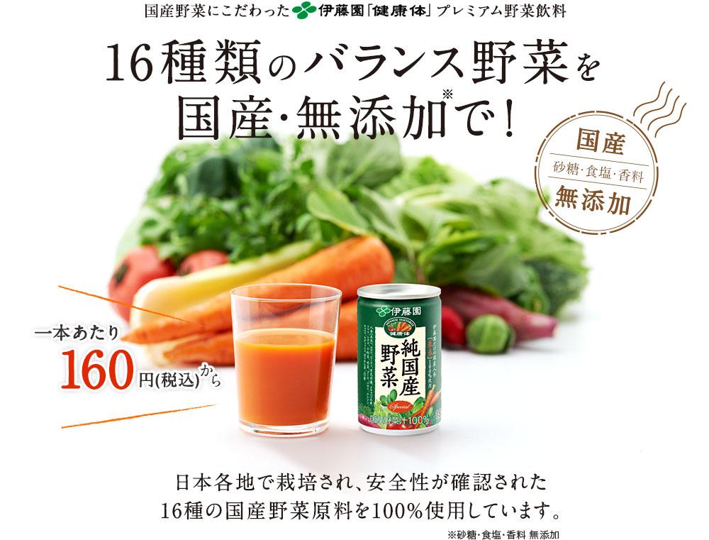 国産野菜にこだわった伊藤園「健康体」プレミアム野菜飲料 16種類のバランス野菜を国産・無添加で! 国産砂糖・食塩・香料無添加 一本あたり160円(税込) 日本各地で栽培され、安全性が確認された16種の国産野菜原料を100%使用しています。 ※砂糖・食塩・香料 無添加