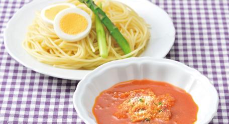 【健康体レシピ】『30品目野菜』を使ったグリーンアスパラガスのつけナポリタン
